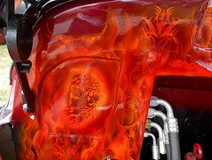 1949 Chevy 3100 (splattergraphics) Tags: 1949 chevy 3100 pickup truck custom airbrush flames skull carshow nsra streetrodnationalseast yorkexpocenter yorkpa
