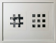 In & out (Kaja Utkowska) Tags: lithography raster squares paper woman inandout insight face