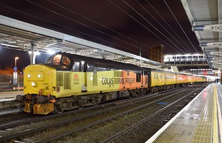 Colas Class 37 Loco 37421 with 37116 at Ipswich Station, with a Network Rail Test Train, from Cambridge via Norwich & Gt Yarmouth. 03 02 2017