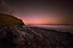 Coronal chaos (robjdickinson) Tags: stars milkyway aurora beach night astro astrophotography sea ocean 14mm sony canon newzealand magnetbay southisland