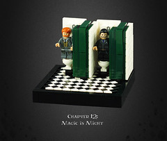 Harry Potter and the Deathly Hallows 07 – Infiltrating the Ministry: Transport by 'Loo'-powder (Umm, Who?) Tags: lego harry potter deathly hallows jk rowling warner brothers ron hermione britain magic chapter 12 is might runcorn cattermole toilets ministry umbridge london restrooms