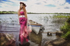mystic woman (BarryKelly) Tags: silk satin dress red smoke portrait boat lake river ireland mayo lantern head rose grass hover rock brick green