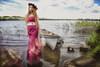 mystic woman (BarryKelly) Tags: silk satin dress red smoke portrait boat lake river ireland mayo lantern head rose grass hover rock brick green