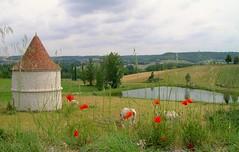 """Joli paysage fleuri """"Lot et garonne - France"""" (josianelavielle) Tags: paysage étang coquelicots"""