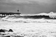 Pont del petroli (xgrager) Tags: beach nikon bridge dock pontdelpetroli storm blackandwhite winter sea badalona d750 waves