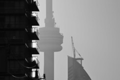 CN Tower .... Late Afternoon In February .... Distillery District / Toronto, Ontario (Greg's Southern Ontario (catching Up Slowly)) Tags: nikon nikond3200 cntower torontoist tower distillerydistrict blackandwhite blackandwhitephotography monochrome shadowsandlight