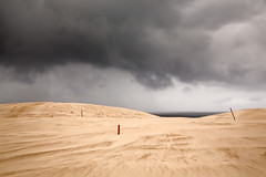 Three posts (RWYoung Images) Tags: rwyoung canon 5d3 sand post sky cloud rain sea landscape southaustralia
