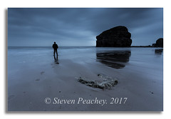 The Watcher (Steven Peachey) Tags: marsden marsdenbay marsdenrock southshields canon6d lee09gnd northeastcoast rock beach sea sky stevenpeachey leefilters manfrotto lightroom northeastengland uk england reflections coastline coast bluehour explored explore