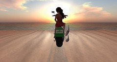 RFL in SL 2015 - Watching the sunset (Osiris LeShelle) Tags: life sunset sky water track chick secondlife motorcycle second activity melancholy sim relay osiris sims relayforlife 2015 rflinsl