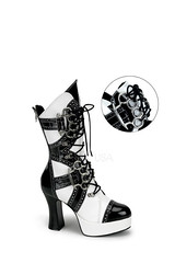 Black White Lace Up Brass Knuckle Boots Patent (shopsmileprize) Tags: white black up boots lace knuckle brass patent