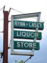 Ryan & Casey Liquor Store, Greenfield, MA (Robby Virus) Tags: beer sign casey store neon wine ryan massachusetts spirits liquor alcohol signage booze liquors greenfield