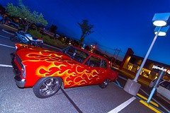 Blaze of Glory (a2roland) Tags: normanzeba2rolandyahoocoma2roland car show hotrod blaze glory fire flames pattern decals vinyl chrom automobile transport tires windows doors blue haze sky twilight evening night flash light glow wendys fast food hackettstown new jersey nj norm zeb photo flickr flicker scene angle wide ultra chrome © norman photography all rights reserved