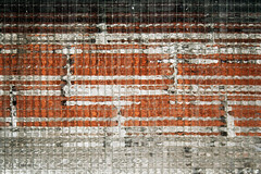 Orchestral score (DjaronvanBeek) Tags: urban orange white distortion abstract black texture lines vertical horizontal closeup architecture composition wire pattern shadows graphic outdoor geometry framed curves minimal difference repetition eclectic rhythm brickwork raster rectangles chaotic aesthetic outerwall milkglass crosslines duochrome 1000faves abstractartaward windowpart djaronvanbeek latticeglass almostfluid