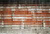 Orchestral score (Djaron van Beek) Tags: urban orange white distortion abstract black texture lines vertical horizontal closeup architecture composition wire pattern shadows graphic outdoor geometry framed curves minimal difference repetition eclectic rhythm brickwork raster rectangles chaotic aesthetic outerwall milkglass crosslines duochrome 1000faves djaron abstractartaward windowpart djaronvanbeek latticeglass almostfluid