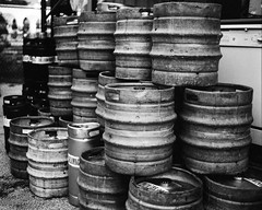 And Now It's All Pee. (jeffk42) Tags: blackandwhite 120 film beer monochrome analog mediumformat outdoors pile taproom 6x7 keg filmisnotdead ilforddelta3200pro mamiyarz67proii orlandobrewing ranalog