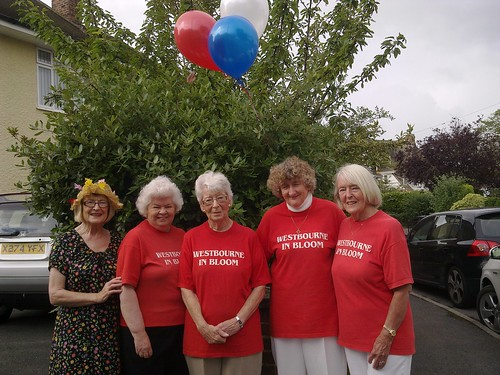 Volunteers at the Annual Westbourne in Bloom Coffee Morning by Winnie Thomas (2) from left to right Maureen McNamara, Winnie Thomas, Edna Lipscombe, Averil Baldwin, Maureen Rouse