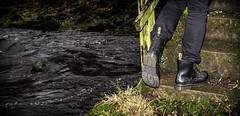 Dr Marten Drench. (CWhatPhotos) Tags: pictures black cold men green slr wet water yellow canon river season that outdoors photography boot countryside cool stream foto view hole image artistic pics iii picture 8 pic images have photographs photograph fotos wellington mens stitching 5d 100 sole doc welly marten which dm docs contain waterproof bouncing airwair martens dms plod drench wellys cwhatphotos drenchboot