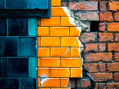 Tricolor (Mr sAg) Tags: urban orange building brick green wall manchester three decay ruin before stages tiles tricolor quarter after northern derelict mundane nq ancoats mrsag ©simonharrison
