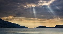 Fishing for Rays (Islandhopper74) Tags: sunset mountains scotland fishing highland knoydart