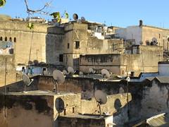 Houses and satellite dishes, medina from Riad La Maison Verte, Fez, Morocco (Paul McClure DC) Tags: fez morocco fès almaghrib dec2016 medina feselbali maroc historic architecture