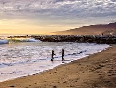 LA beach in winter ((Jessica)) Tags: sunset santamonica children california beach silhouette playing pacificpalisades losangeles