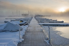 Cold Morning at North Marina - Lake Pueblo (Christopher J May) Tags: cold snow frost subzero lakepueblostatepark marina ice northmarina pueblo colorado co boat mist sun goldenhour