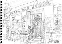 Lyon 2, Rue Neuve, la librairie Le Bal des Ardents (Croctoo) Tags: croctoo croctoofr croquis craýon librairie boutique livres lyon rhone