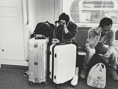 Too much.... (hksleeper) Tags: women blackwhite bw suitcase 2017 tired nexus6p asia hongkong mtr mobile streetphotography life