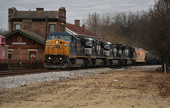 Dash 8 Depot Shot (weshendrix) Tags: csx chattanooga subdivision nashville division stevenson alabama train railfan railfanning railroad rr freight ethanol c408w ge diesel engine locomotive widecab depot caboose norfolk southern