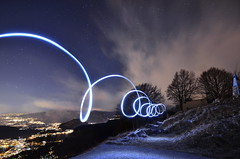 Shed light (Saramanzinali) Tags: light painting lights night notte luci luce stars stelle nuit lecco italy italia monte tesoro nuage nuvole cloud clouds cielo sky ciel