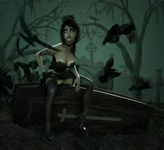 Ghoulish Goth Girl (Bel's World) Tags: daz 3dmodeling goth macabre cementery graves coffin casket dark emo