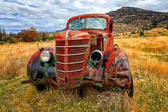 Another Red International (KPortin) Tags: truck red rusty battered abandoned abandonedtruck brokenwindows wow htt