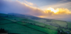 Sunrise snow squall over Macclesfield Forest (tburling) Tags: fuji xt2 macclesfieldforest sunrise snow squall teggsnose farmland hills clouds beautifullight goldenhour fields drystonewalls