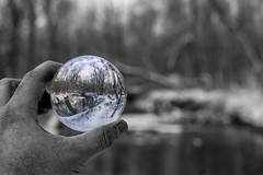 Holding The Colors of Winter (NoobieNikon) Tags: approved selective black white colors powder mill park rochester ny new york crystal ball sphere