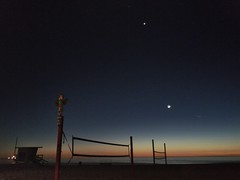I love night sky (da's art) Tags: sunset ocean lifeguardtower volleyballnet beach planet stars venus newmoon moon nightsky snapseed photo iphoneography iphone