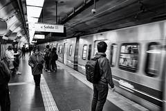 Subte BsAs (wesp2011) Tags: people personas pasajeros pasasangers train tren subte underground wait espera bw byn signals carteles salida exit