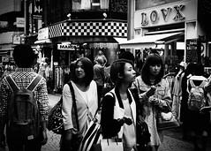 lost in harajuku (bendikjohan) Tags: life street city travel people urban bw streets japan shopping photography japanese tokyo blw asia candid shibuya 1600 harajuku environment neopan bnw surroundings environs vicinity bl