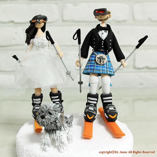 Skiers Wedding Cake Topper