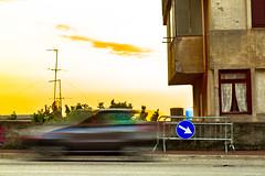 Fast Sunset (Nico Villagra Lopez) Tags: street trip blur color car sign lost photography italia tramonto skies colore surreal cielo directions catch velocity viaggio sicilia velocità trapani macchine direzione santaninfa