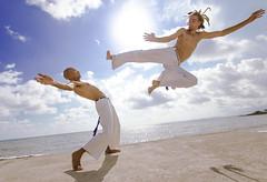 Flying Capoeirista (E-C-K ART) Tags: art beach sport brasil capoeira martial kingston jamaica axe grupo cativeiro