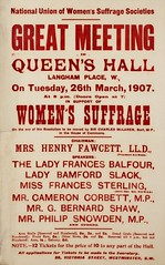 Suffrage meetings and events: National Union of Women's Suffrage Societies Great Meeting In Queen's Hall26 Mar 1907