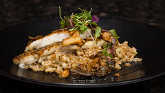 Pan-Seared Black Sea Bass (Tom Noe) Tags: ohio food mushroom dinner restaurant bass seafood medina porcini chanterelle blackbass entree farro foodphotography tomnoe benfreeman modernamerican sometimessavory anthonyscolaro 111bistro tomnoephotography meghanpender oneelevenbistro