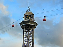 Port Vell Aerial Tramway in Barcelona, Spain. November 3, 2015 (Vadiroma) Tags: barcelona city tower spain europe catalonia catalunya aerialtramway portvell oldharbour 2015 torredejaumei