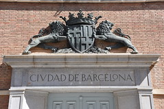 Barcelona (Montjuc). A couple of lions supporting the Coat of arms of Barcelona. Relief on the facade of the City of Barcelona pavilion for the 1929 International Exposition. 1929. Pere Jou, sculptor (Catalan Art & Architecture Gallery (Josep Bracons)) Tags: world barcelona city sculpture art statue bronze heraldry gallery arte kunst lion internacional ciudad fair catalonia crest exhibition relief escultura international exposition pavilion shield catalunya estatua len pere ville catalua catalan montjuic pavillon internationale exposicion mares 1929 ciutat bronce ecu jou blason frederic relieve scultura catala sants escudo escut arnau katalonien josep catalogne relleu heraldique eusebi lleo exposicio heraldica pabellon pavello bracons arms coat