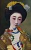 Yachiyo II or Koyachiyo 1910s (Blue Ruin 1) Tags: osakamaiko geiko geisha apprenticegeisha kanzashi susuki japanesepampasgrass sensu foldingfan japanese japan taishoperiod 1910s osaka yachiyoii koyachiyo