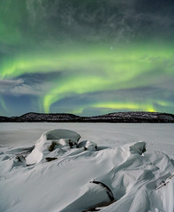 Finland (AntiAtlas) Tags: aurora northern lights borealis landscape nightscape finland snow stars moonlight green windswept lapland arctic