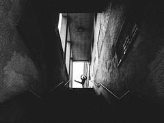 gutter ballet (matthias hämmerly) Tags: zuerich winter limmatplatz street streetphotography contrast grain ricoh grd 2 grit stair stairway staircase up stairs dark shadow gymnastics woman girl gym