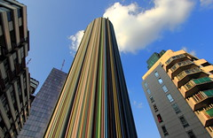 Rainbow Factory (Eye of Brice Retailleau) Tags: beauty ciel clouds composition earth extérieur outdoor scenery scenic sky nuage street streetphotography travel colours colourful cityscape urban buildings building towers europe france paris ladefense flickrunitedaward