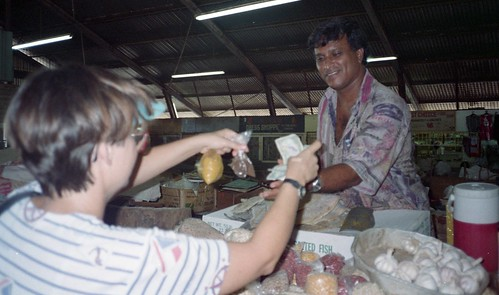 Deb buying spices in the local market