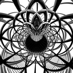 Spiderling - King's Cross London (Abstract Architecture) (Simon & His Camera) Tags: blackandwhite bw black distorted round circle abstract art contrast composition conceptual surreal geometric lines monochrome pattern rings simonandhiscamera architecture roof city curve indoor london urban white tangle